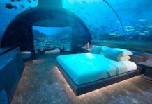 sypialnia w podwodnym hotelu