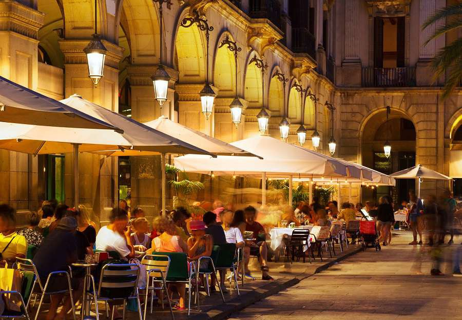 restaurants-at-Placa-Reial-in-summer-night.-Barcelona-Catalonia-shutterstock_325618946