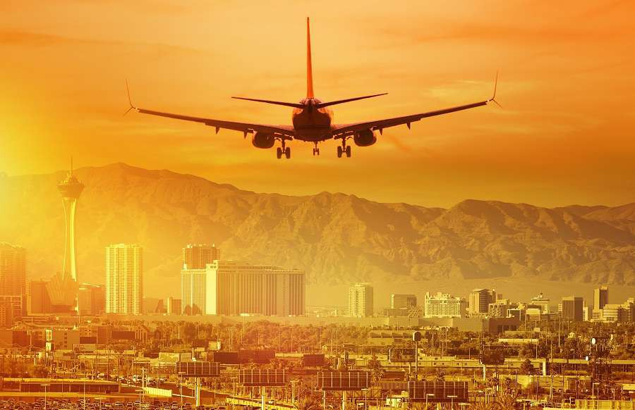 Vacation-Airplane-Trip-to-Las-Vegas.-Landing-Aircraft-in-Las-Vegas-Nevada-United-States.-shutterstock_424304647