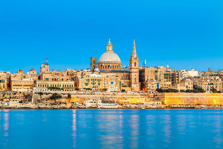 Valletta-Skyline-in-the-Evening-Malta-shutterstock_125319017
