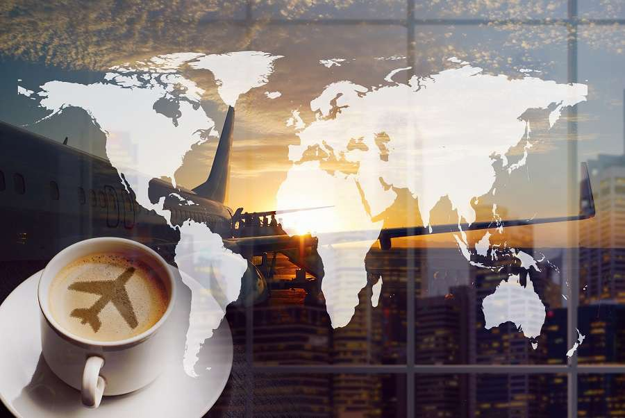 Airport-coffee-and-traveling-the-world.-City-buildings-and-boarding-queue.-Double-exposure-collage.--shutterstock_667292413